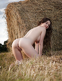 Gorgeous Serena Wood sensually strips on the field.