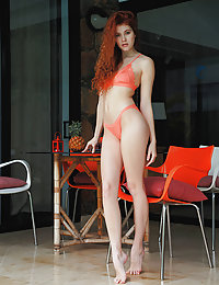 Redhead Adel C strips her sexy lingerie as she bares her sexy, tight body.